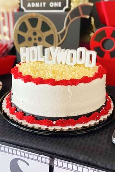 Take a look at this fabulous Movie Night-themed Graduation! The Hollywood Birthday cake is so impressive! See more party ideas and share yours at CatchMyParty.com Bridal Shower Cakes, Baby Shower Cakes, Movie Night Party, Rustic Cake, Oscar Party, Holiday Cakes, Gorgeous Cakes, School Parties, For Your Party