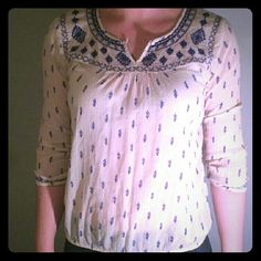 Lucky Brand Cream Embroidered Boho Blouse Lucky Brand cream boho style blouse with royal blue embroidery. Shear fabric with elastic/sinch at bottom and cuffs. Good condition! Lucky Brand Tops Blouses