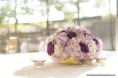 Low Centerpiece with Fresh Blue Curiosa Roses and Light Purple Hydrangea by The French Bouquet - Zinke Design - Dresser Mansion - Candi Coffman Photography
