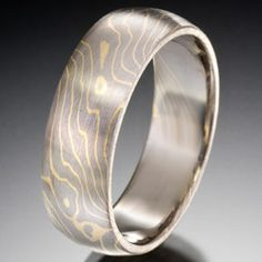 Thin Lines Pattern Mokume Gane Ring, Gray and Yellow. By Chris Ploof.
