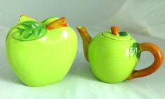 Green Apple Ceramic Pot and Napkin Holder Kitchen Vintage Mid-Century Chic