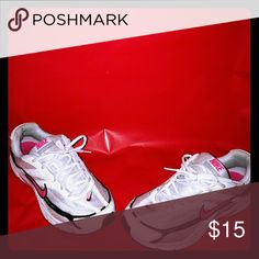 Nike woman sneakers Good condition women's sneakers white, pink and black size 9 Nike Shoes Sneakers