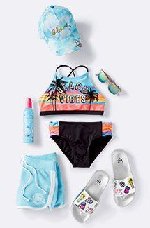 set for a surfside adventure!All set for a surfside adventure! Cute Girl Outfits, Cute Outfits For Kids, Cool Outfits, Summer Outfits, Girls Fashion Clothes, Tween Fashion, Justice Clothing, Justice Clothes For Girls, Justice Outfits