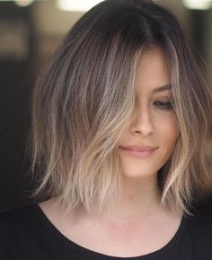 The Beauty Of Short HairShort Hair Belongs To Summer - All For Hair Color Balayage White Ombre Hair, Ombre Hair Color, Gray Hair, Ombre Hair Bob, Baylage Short Hair, Short Hair Colour, Brunette Balayage Hair Short, Lob Ombre, Blonde Ombre Bob