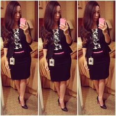 Office style... Adding pops of neon pink to a black pencil skirt and peplum blazer! L.A.M.B pumps