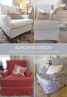 One chair, four slipcovers. It's amazing how each slipcover gives the same chair a completely different personality! The wingback chair featured in these photos is mine. It's worn &…
