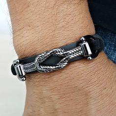 Pulseira Masculina Couro Bridao Grafite Fechamento Magnético mens bracelets fashion style cocar brasil