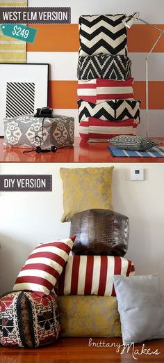 Sew your own floor cushions and save a ton. I 24 West Elm Hacks