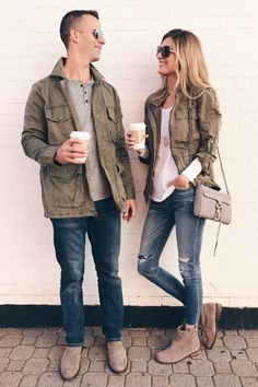 Green Utility Jacket - A His and Hers Fall Closet Staple NEED BOTH! his and hers green utility jacket Fashion Couple, Fall Fashion Outfits, Casual Winter Outfits, Rock Outfits, Emo Outfits, Outfit Winter, Outfit Summer, Punk Fashion, Winter Fashion