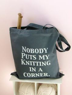 I Like Big Balls black Knitting Bag by KellyConnorDesigns on Etsy
