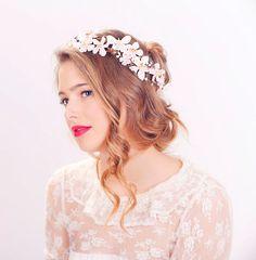 cherry blossom flower crown wedding headpiece by serenitycrystal, $48.00