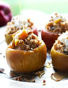 ... baked apples. A delightful topping of vanilla yogurt, pecan bits and