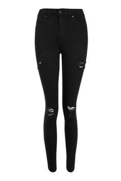 You can always rely on black Topshop jeans. Especially these high rise, ankle grazing super skinny jeans in washed black power stretch denim with super rips. Crop Top Outfits, Basic Outfits, Cool Outfits, Fashion Outfits, Fashion Trends, Cute Ripped Jeans, All Jeans, Girls Black Jeans, Basic White Girl