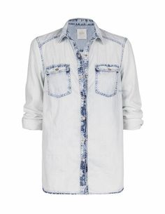 SuiteBlanco- Camisa denim contraste