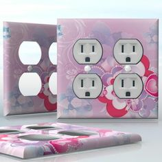 DIY Do It Yourself Home Decor - Easy to apply wall plate wraps | Heartalicious  Pink and white hearts and pearls  wallplate skin sticker for 2 Gang Wall Socket Duplex Receptacle | On SALE now only $4.95