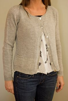 PDF PATTERN Heathered Cardigan Women's by DandilionGirlDesigns - it's knitted top down though!
