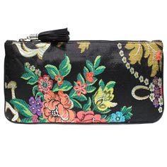 clutch fallera® con detalles florales, realizados en tela de seda color negro, verde y rojo. fallera bag with floral pattern. #bag #clutch #bolso http://fallera.com/es/bolsos/bc00704-detail