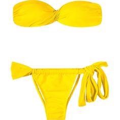 Rio De Sol Yellow Shell-shape Bandeau Bikini - Ipe Torcido Lace (165 BRL) ❤ liked on Polyvore featuring swimwear, bikinis, yellow, lace two piece, lace bikini, bandeau swimwear, yellow bikini and bikini swimwear