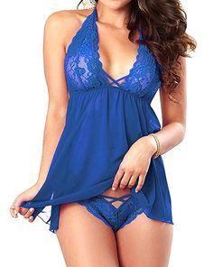 JuicyRose Women's Sexy Lingerie Lace Sleepwear Halter Babydoll V-String Miniskirt (US XS=Tag S, Blue)