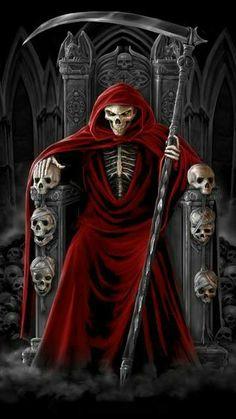 Steve Dragon on vipsociety Death Reaper, Grim Reaper Art, Grim Reaper Tattoo, Don't Fear The Reaper, Santa Muerte Prayer, Reaper Drawing, Gothic Images, Gothic Art, Gothic Fantasy Art