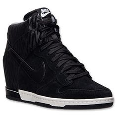 Women's Nike Dunk Sky High Print Casual Shoes| FinishLine.com | Black/Anthracite/Cool Grey