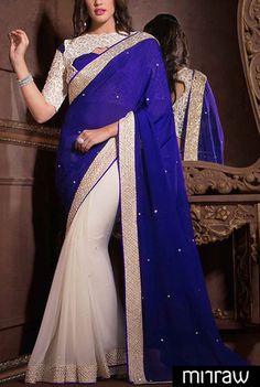 Beautiful white & blue saree.