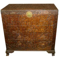 OMG, I love this - Antique Asian Chest/Trunk Hand Carved Bamboo Decor