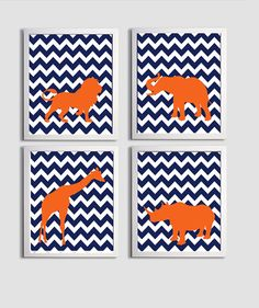 Nursery Art Chevron Boy Girl Navy Orange Safari by ZeppiPrints