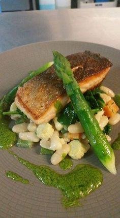#LochDuart salmon #servedbyname with spring vegetable & cannelloni bean cassoluet, asparagus, wilted spinach & watercress cream at The Malvern Spa #delicious #spring #menu #malvernspa #eatmorefish