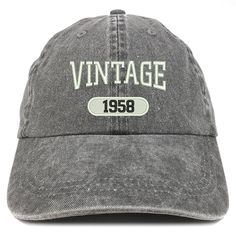 a6fcfc8be0890 Vintage 1958 Embroidered 60th Birthday Soft Crown Washed Cotton Cap - Black  - CH12O46GDCG - Hats