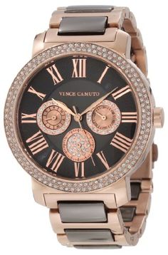 Vince Camuto Women's VC/5001RGTT Swarovski Crystal Accented Brown and Rosegold-Tone Multi-Function Bracelet Watch - Rellek Jewelry