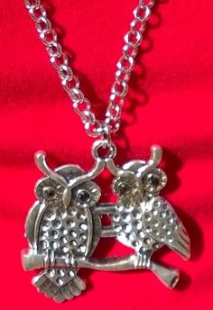 """New TWO OWLS on a BRANCH Silver Tone Necklace 20"""" Long Chain Jewelry #Handmade #Chain"""