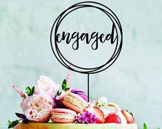 Wood engaged cake topper - Engaged engagement cake topper acrylic wood circle cake decoration topper wedding engaged cake topper