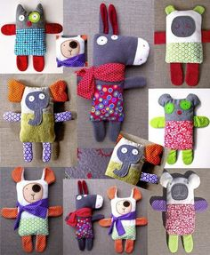 Doudous mosaïque Stuffed Toys Patterns, Sewing For Kids, Baby Sewing, Doll Toys, Sock Dolls, Stuffed Animals, Funny Elephant, Stuffed Dolls, Donkey