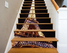 3D Eiffel Tower 66 View Staircase Stairway Stairs Risers Stickers Mural Photo Mural Vinyl Decal Wallpaper Removable