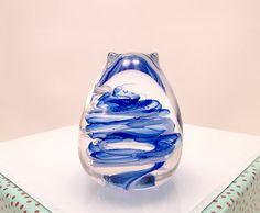 Cobalt Blue Blown Glass Cat Paperweight Cat by MissMacGlass, $35.00