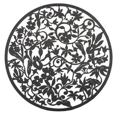 Circle Of Flowers Black Metal Wall Art 99cm