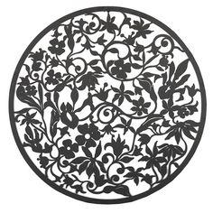 Circle Of Flowers Black Metal Wall Art 99cm