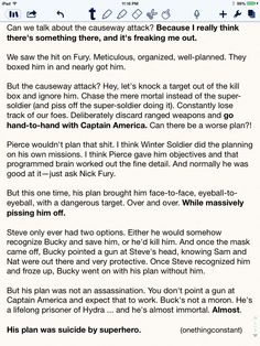 """OMG. Bucky wasn't trying to kill Steve on the bridge. That wasn't a fight scene; it was Bucky trying to make Steve """"save"""" him the only way Bucky could think of ..."""