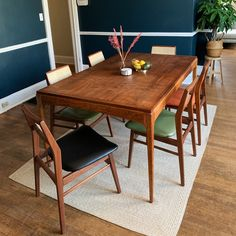 The very first color we developed and one of our favorites. A dark blue with green undertones, it lends a cool and laid back feeling to any space. Best Blue Paint Colors, Acrylic Resin, Interior Walls, One Color, Dark Blue, Surfing, Dining Table, Interiors, Space