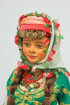 Turkish costume, TURKEY Turkish Art, Clay Dolls, Art Dolls, Paper Clay, Folk Costume, Ethnic Fashion, Traditional Outfits, My Children, Folklore
