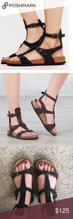 Birkenstock Chania Gladiator Sandals Black RARE Birkenstock Chania Gladiator Sandals in black leather. Very lightly worn and in excellent condition. Size 40 regular. Super comfy and adorable! Birkenstock Shoes Sandals