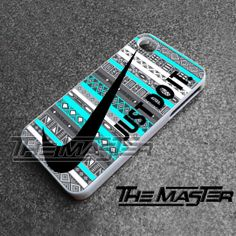 Nike Just Do It on aztec mint pattern - iPhone 4/4s/5/5s/5c Case - Samsung Galaxy S2/S3/S4 Case - Black or White by THEMASTERONE on Etsy