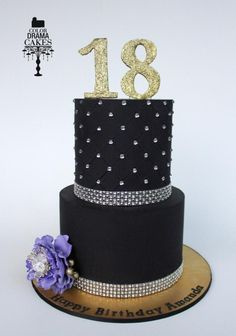 Black+and+Bling+for+a+18th+birthday++-+Cake+by+Color+Drama+Cakes
