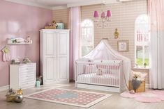 """Baby room gray """"Marta"""" 4 parts made of wood - Babyzimmer Interior Design Examples, White Interior Design, Girl Nursery Colors, Nursery Design, White Nursery, Baby Room Decor, Girl Room, Furniture Sets, Toddler Bed"""