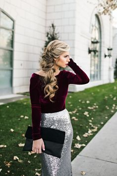 holiday look. sequin skirt. velvet. braid. hair. holiday hair. formal. www.jessakae.com/blog/sparkle