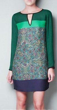 Vestido Verde e Roxo de mangas
