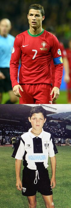 Throwback photos of World Cup players! Here's Cristiano Ronaldo, then and now.