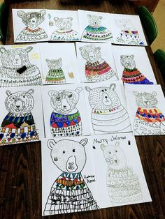 Elements of the Art Room: grade Ugly Sweater Bears Christmas Art Projects, Winter Art Projects, School Art Projects, 2nd Grade Art, Grade 2, Second Grade, January Art, Hybrid Art, Animal Art Projects