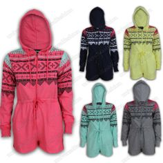 Ladies Short Jumpsuits Women Onesie Aztec Print All In One Hoody Playsuit Summer Romper Outfit, Christmas Pajamas, Jumpsuits For Women, Playsuit, Aztec, All In One, Onesies, Hoodies, Lady